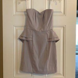 H & M grey strapless peplum dress